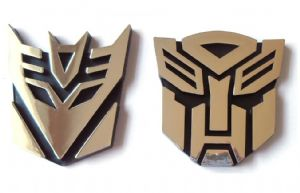 Transformers Autobot and Decepticon Chrome Emblem 8.5 CM SET OF TWO